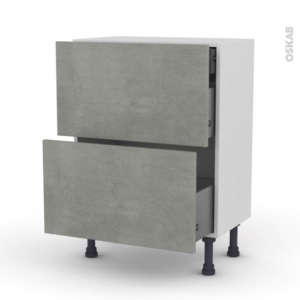 Meuble de cuisine - Casserolier - FAKTO Béton - 2 tiroirs 1 tiroir à l'anglaise - L60 x H70 x P37 cm