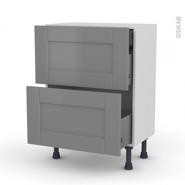 Meuble de cuisine - Casserolier - FILIPEN Gris - 2 tiroirs 1 tiroir à l'anglaise - L60 x H70 x P37 cm