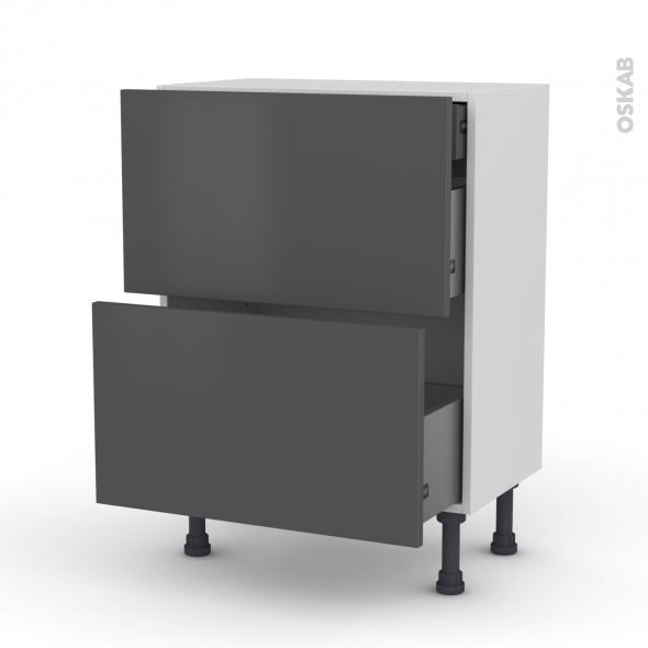 Meuble de cuisine - Casserolier - GINKO Gris - 2 tiroirs 1 tiroir à l'anglaise - L60 x H70 x P37 cm