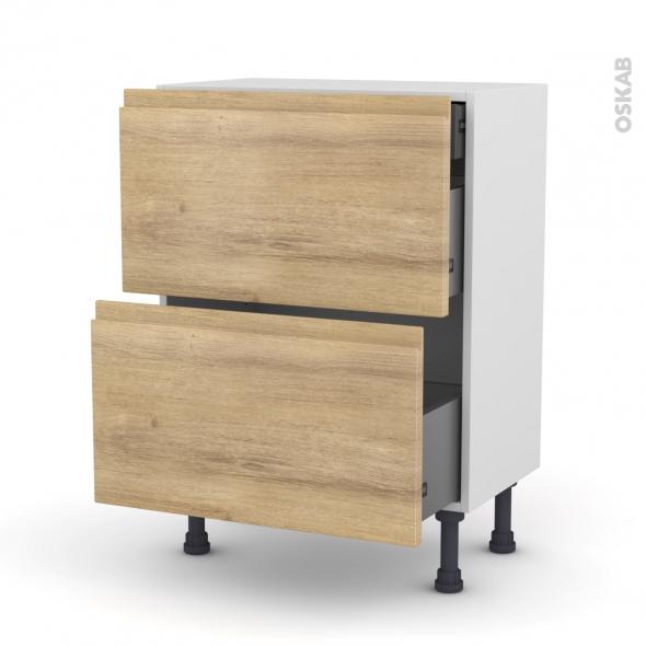 Meuble de cuisine - Casserolier - IPOMA Chêne naturel - 2 tiroirs 1 tiroir à l'anglaise - L60 x H70 x P37 cm