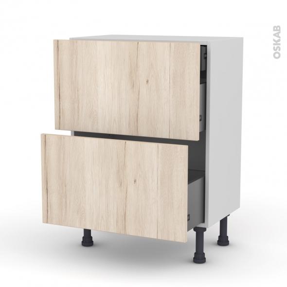 Meuble de cuisine - Casserolier - IKORO Chêne clair - 2 tiroirs 1 tiroir à l'anglaise - L60 x H70 x P37 cm