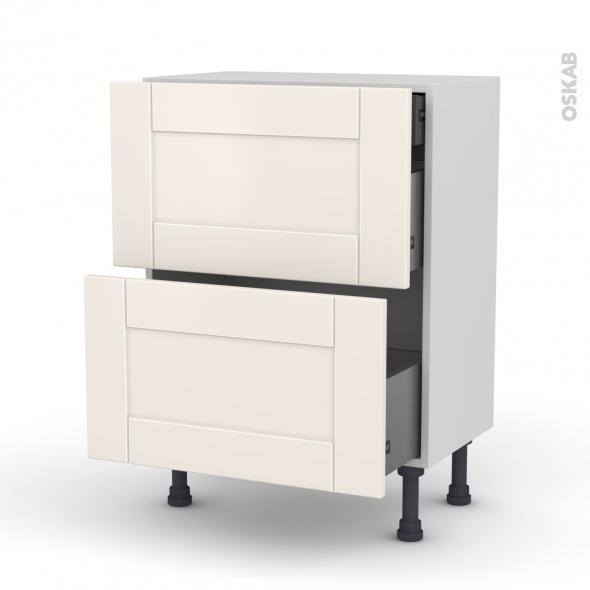 Meuble de cuisine - Casserolier - FILIPEN Ivoire - 2 tiroirs 1 tiroir à l'anglaise - L60 x H70 x P37 cm