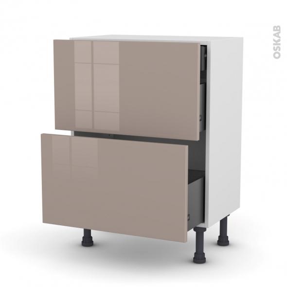 Meuble de cuisine - Casserolier - KERIA Moka - 2 tiroirs 1 tiroir à l'anglaise - L60 x H70 x P37 cm