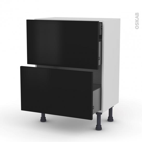Meuble de cuisine - Casserolier - GINKO Noir - 2 tiroirs 1 tiroir à l'anglaise - L60 x H70 x P37 cm