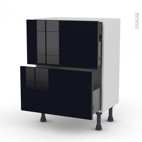 Meuble de cuisine - Casserolier - KERIA Noir - 2 tiroirs 1 tiroir à l'anglaise - L60 x H70 x P37 cm