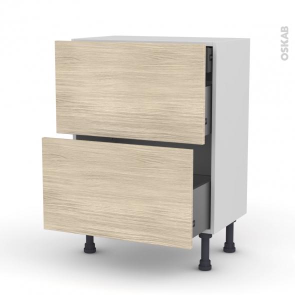 Meuble de cuisine - Casserolier - STILO Noyer Blanchi - 2 tiroirs 1 tiroir à l'anglaise - L60 x H70 x P37 cm