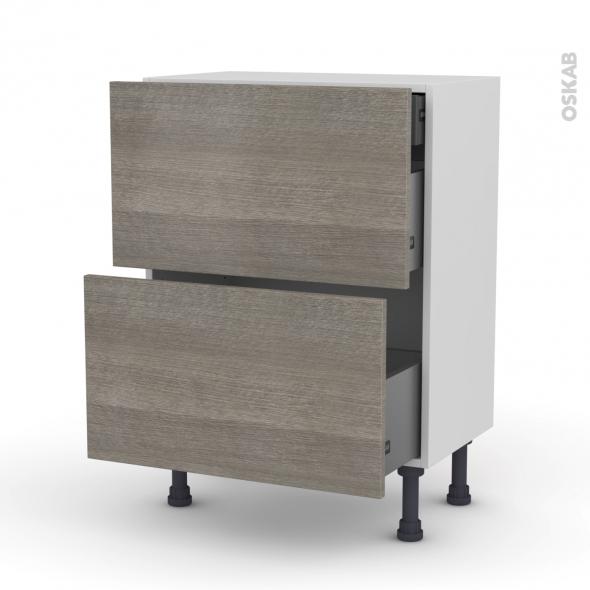 Meuble de cuisine - Casserolier - STILO Noyer Naturel - 2 tiroirs 1 tiroir à l'anglaise - L60 x H70 x P37 cm