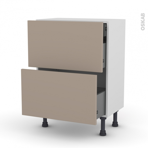 Meuble de cuisine - Casserolier - GINKO Taupe - 2 tiroirs 1 tiroir à l'anglaise - L60 x H70 x P37 cm