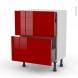 Meuble de cuisine - Casserolier - STECIA Rouge - 2 tiroirs 1 tiroir à l'anglaise - L60 x H70 x P37 cm