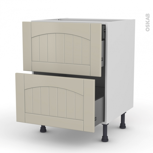 SILEN Argile - Meuble casserolier - 2 tiroirs-1 tiroir anglaise - L60xH70xP58
