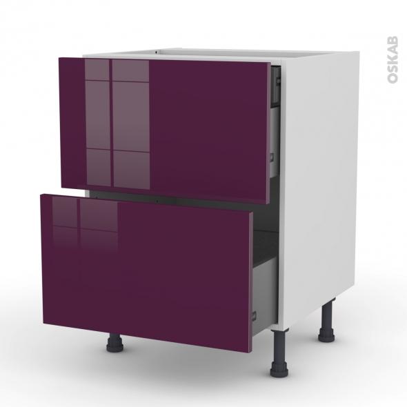 Meuble de cuisine - Casserolier - KERIA Aubergine - 2 tiroirs 1 tiroir à l'anglaise - L60 x H70 x P58 cm