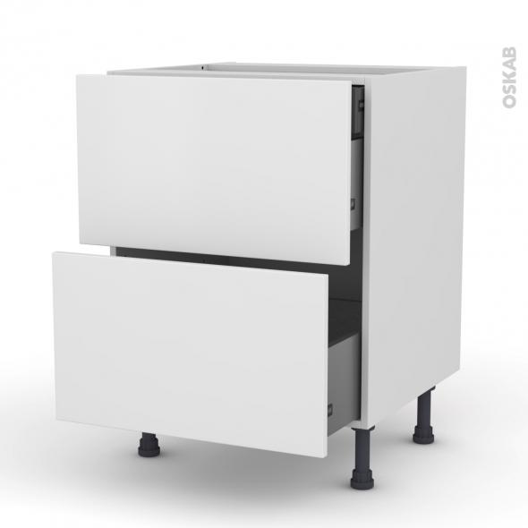 GINKO Blanc - Meuble casserolier - 2 tiroirs-1 tiroir anglaise - L60xH70xP58