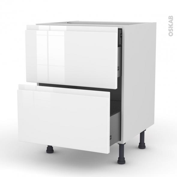 Meuble de cuisine - Casserolier - IPOMA Blanc brillant - 2 tiroirs 1 tiroir à l'anglaise - L60 x H70 x P58 cm