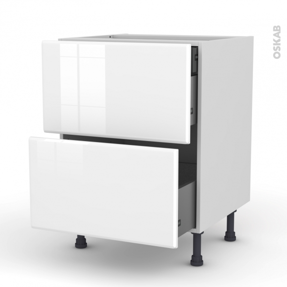 Meuble de cuisine - Casserolier - IRIS Blanc - 2 tiroirs 1 tiroir à l'anglaise - L60 x H70 x P58 cm