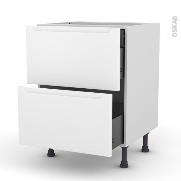 Meuble de cuisine - Casserolier - PIMA Blanc - 2 tiroirs 1 tiroir à l'anglaise - L60 x H70 x P58 cm