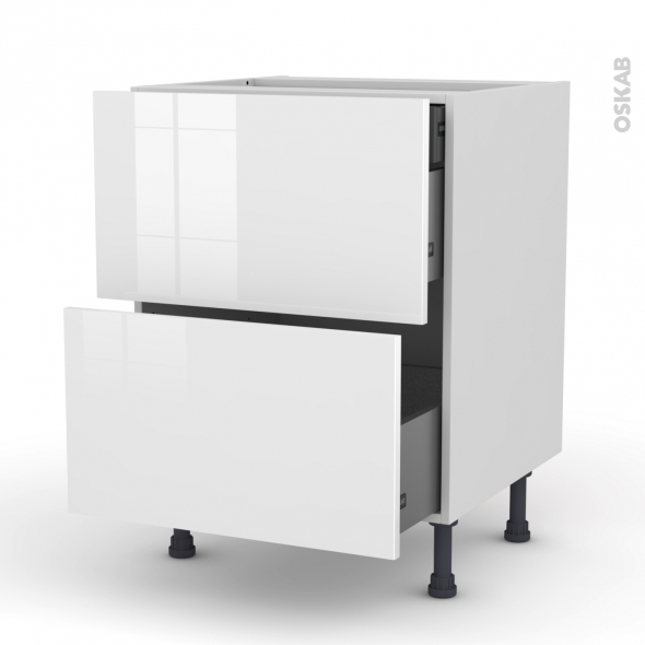 Meuble de cuisine - Casserolier - STECIA Blanc - 2 tiroirs 1 tiroir à l'anglaise - L60 x H70 x P58 cm
