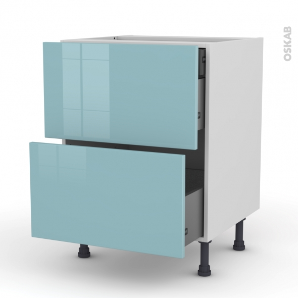 Meuble de cuisine - Casserolier - KERIA Bleu - 2 tiroirs 1 tiroir à l'anglaise - L60 x H70 x P58 cm