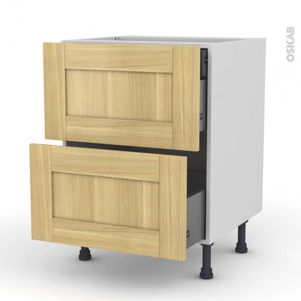 BASILIT Bois brut - Meuble casserolier - 2 tiroirs-1 tiroir anglaise - L60xH70xP58