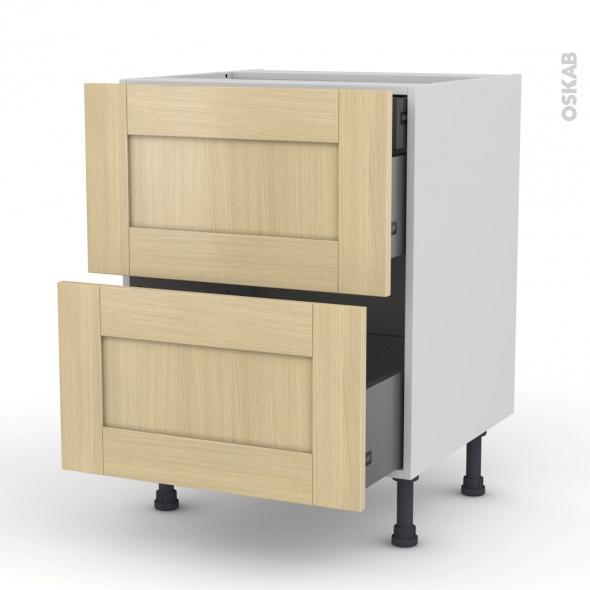 BASILIT Bois verni - Meuble casserolier - 2 tiroirs-1 tiroir anglaise - L60xH70xP58
