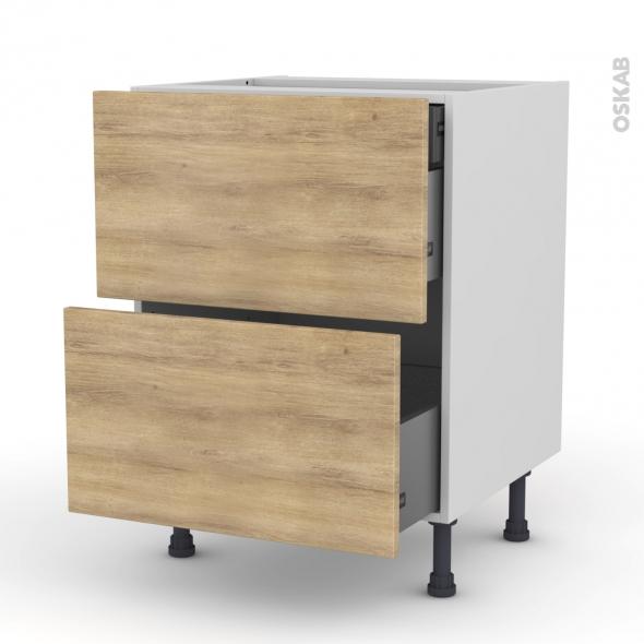 Meuble de cuisine - Casserolier - HOSTA Chêne naturel - 2 tiroirs 1 tiroir à l'anglaise - L60 x H70 x P58 cm