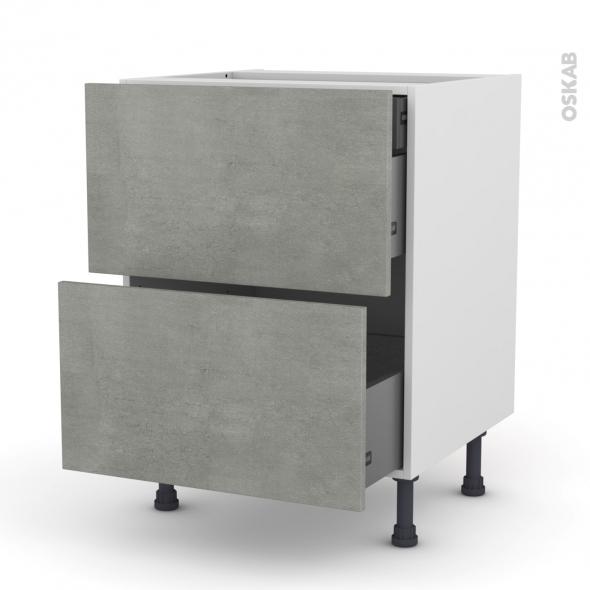 FAKTO Béton - Meuble casserolier - 2 tiroirs-1 tiroir anglaise - L60xH70xP58