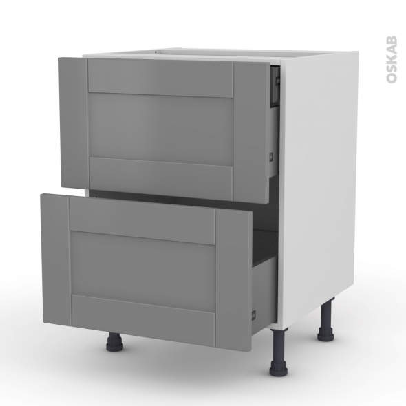 Meuble de cuisine - Casserolier - FILIPEN Gris - 2 tiroirs 1 tiroir à l'anglaise - L60 x H70 x P58 cm