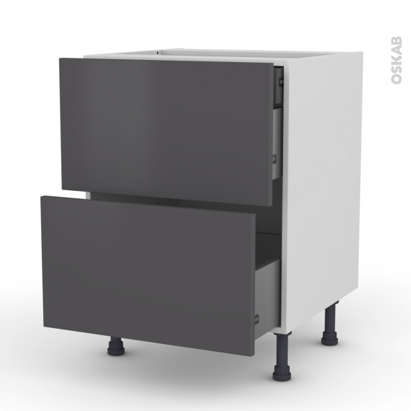 GINKO Gris - Meuble casserolier - 2 tiroirs-1 tiroir anglaise - L60xH70xP58