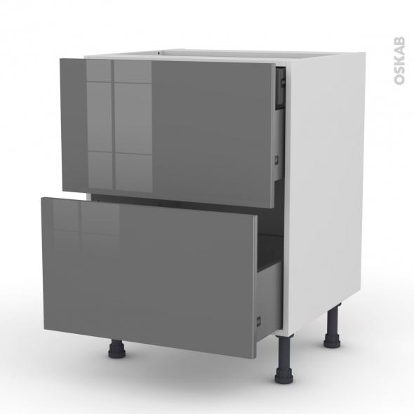 Meuble de cuisine - Casserolier - STECIA Gris - 2 tiroirs 1 tiroir à l'anglaise - L60 x H70 x P58 cm