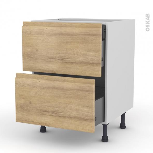 Meuble de cuisine - Casserolier - IPOMA Chêne naturel - 2 tiroirs 1 tiroir à l'anglaise - L60 x H70 x P58 cm