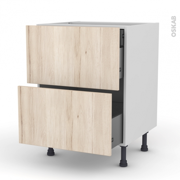 Meuble de cuisine - Casserolier - IKORO Chêne clair - 2 tiroirs 1 tiroir à l'anglaise - L60 x H70 x P58 cm