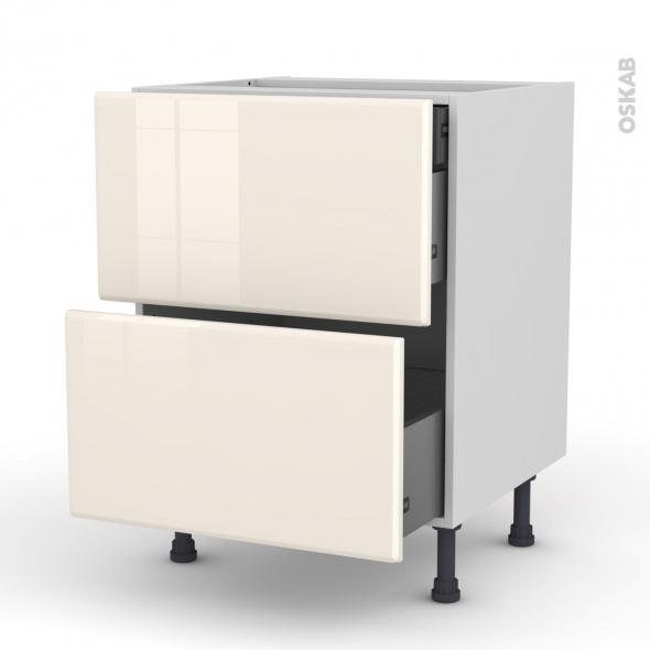 IRIS Ivoire - Meuble casserolier - 2 tiroirs-1 tiroir anglaise - L60xH70xP58