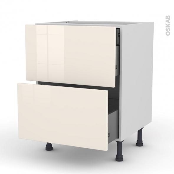 Meuble de cuisine - Casserolier - KERIA Ivoire - 2 tiroirs 1 tiroir à l'anglaise - L60 x H70 x P58 cm