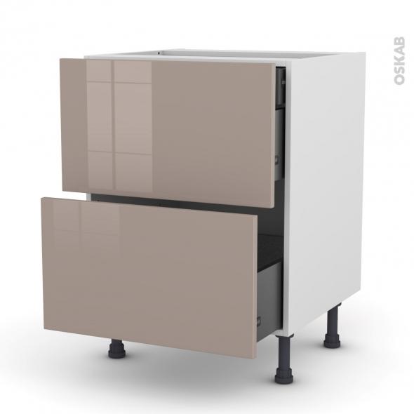 Meuble de cuisine - Casserolier - KERIA Moka - 2 tiroirs 1 tiroir à l'anglaise - L60 x H70 x P58 cm
