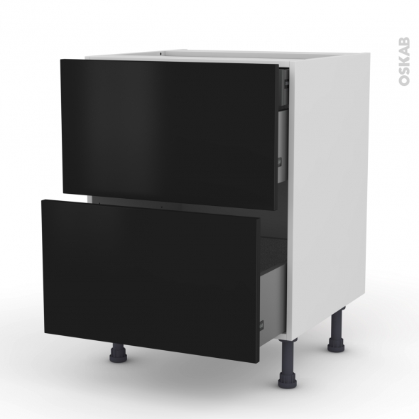Meuble de cuisine - Casserolier - GINKO Noir - 2 tiroirs 1 tiroir à l'anglaise - L60 x H70 x P58 cm
