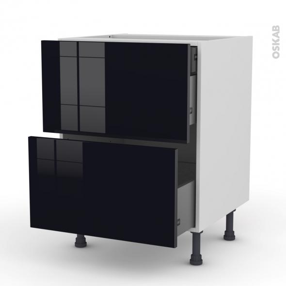 Meuble de cuisine - Casserolier - KERIA Noir - 2 tiroirs 1 tiroir à l'anglaise - L60 x H70 x P58 cm