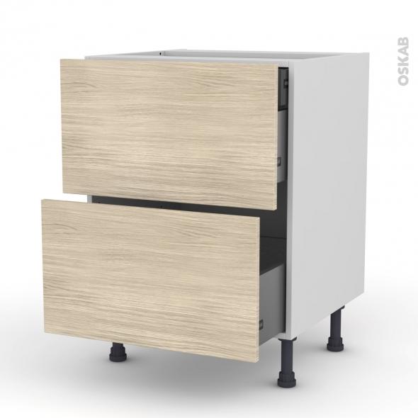 Meuble de cuisine - Casserolier - STILO Noyer Blanchi - 2 tiroirs 1 tiroir à l'anglaise - L60 x H70 x P58 cm