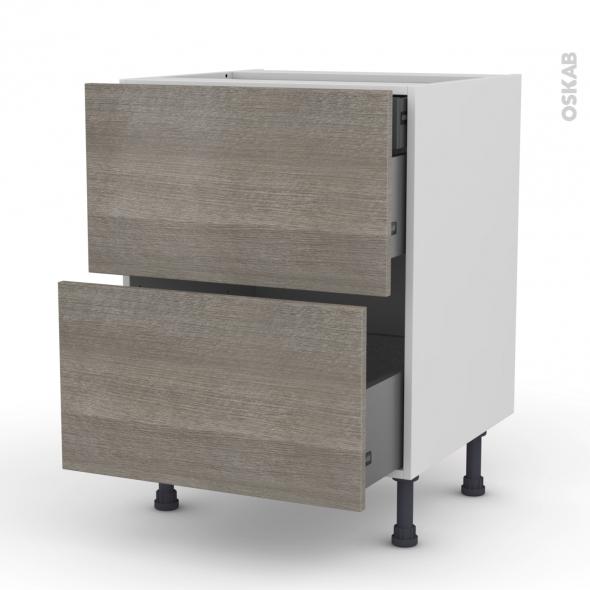 Meuble de cuisine - Casserolier - STILO Noyer Naturel - 2 tiroirs 1 tiroir à l'anglaise - L60 x H70 x P58 cm
