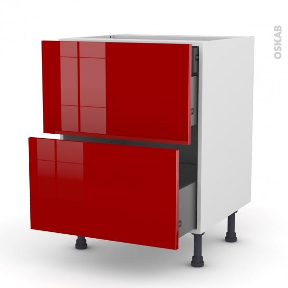 Meuble de cuisine - Casserolier - STECIA Rouge - 2 tiroirs 1 tiroir à l'anglaise - L60 x H70 x P58 cm