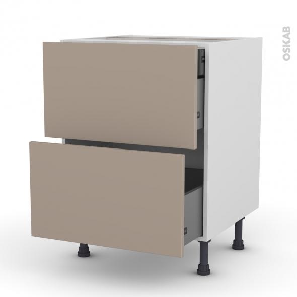 Meuble de cuisine - Casserolier - GINKO Taupe - 2 tiroirs 1 tiroir à l'anglaise - L60 x H70 x P58 cm