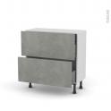 FAKTO Béton - Meuble casserolier - 2 tiroirs-1 tiroir anglaise - L80xH70xP37