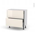 Meuble de cuisine - Casserolier - KERIA Ivoire - 2 tiroirs 1 tiroir à l'anglaise - L80 x H70 x P37 cm