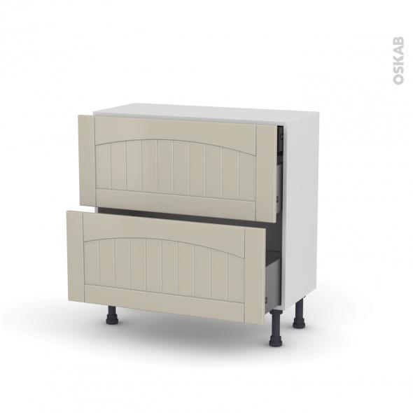 SILEN Argile - Meuble casserolier - 2 tiroirs-1 tiroir anglaise - L80xH70xP37