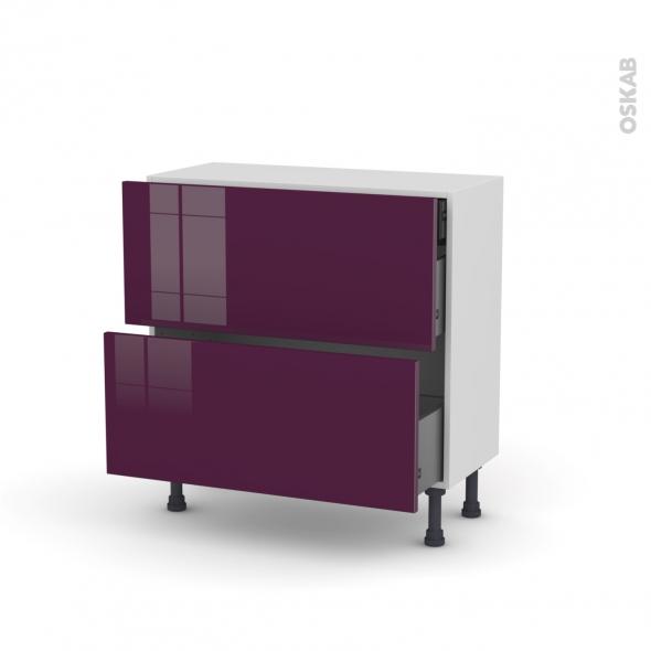 Meuble de cuisine - Casserolier - KERIA Aubergine - 2 tiroirs 1 tiroir à l'anglaise - L80 x H70 x P37 cm