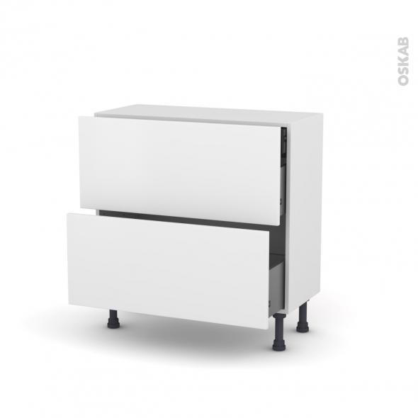 GINKO Blanc - Meuble casserolier - 2 tiroirs-1 tiroir anglaise - L80xH70xP37