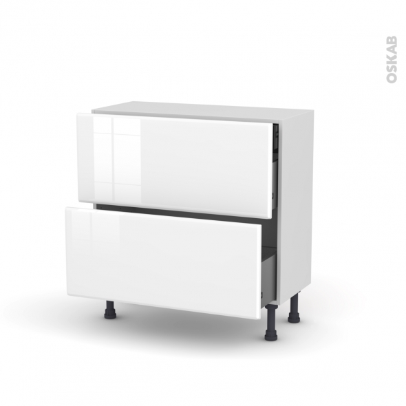 IRIS Blanc - Meuble casserolier - 2 tiroirs-1 tiroir anglaise - L80xH70xP37