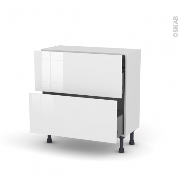 Meuble de cuisine - Casserolier - STECIA Blanc - 2 tiroirs 1 tiroir à l'anglaise - L80 x H70 x P37 cm