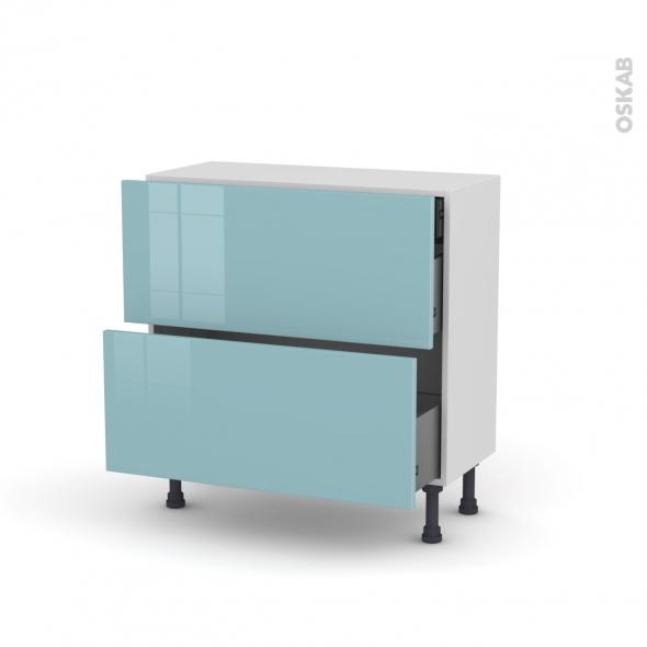 Meuble de cuisine - Casserolier - KERIA Bleu - 2 tiroirs 1 tiroir à l'anglaise - L80 x H70 x P37 cm