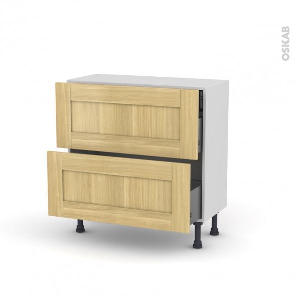 BASILIT Bois brut - Meuble casserolier - 2 tiroirs-1 tiroir anglaise - L80xH70xP37