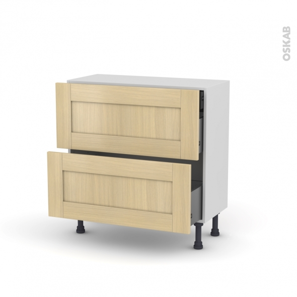 BASILIT Bois verni - Meuble casserolier - 2 tiroirs-1 tiroir anglaise - L80xH70xP37