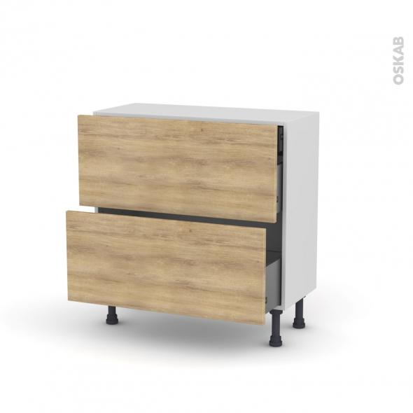 HOSTA Chêne naturel - Meuble casserolier - 2 tiroirs-1 tiroir anglaise - L80xH70xP37